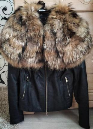 Кожаная куртка с шикарным мехом