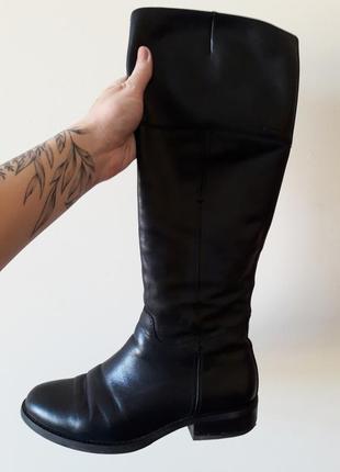 Кожаные осенние сапоги ботфорты