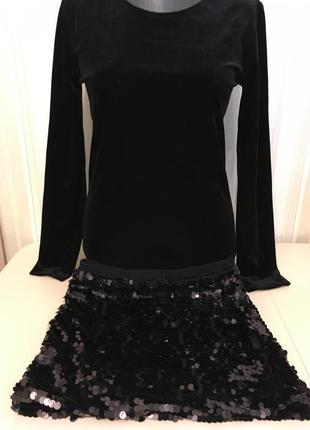 Черный костюм кофта + юбка