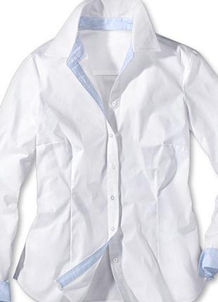 Шикарная белая рубашка из органического хлопка от tchibo(германия) , размер 40 евро=46-48