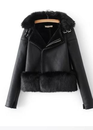 Дубленка искусственная тёплая дублянка зимняя женская одежда эко кожа чёрная косуха