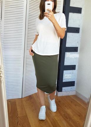 Базовая юбка миди хаки