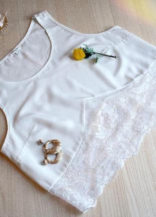 Тор белый с кружевом на брителях лямках блуза блузка белая майка
