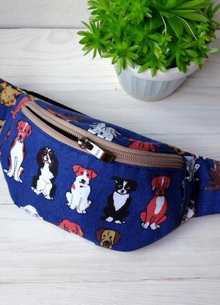 Сумка-бананка с собаками, поясная сумка 54, бананка з песиками