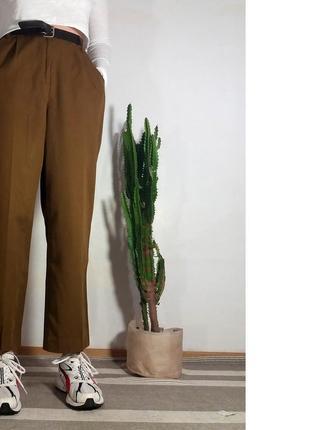 Брюки хаки штаны выслкая посадка зеленые темные шерстяные стрелки