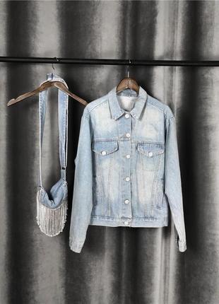 Джинсовая рубашка с сумочкой стразы камни