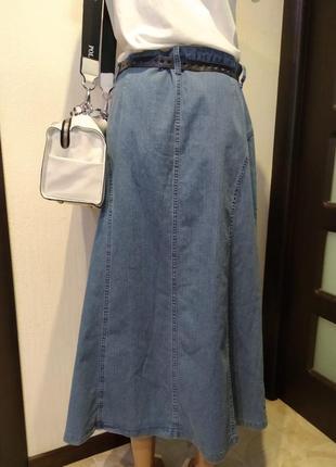 Юбка-карандаш трапеция макси джинсовая синяя
