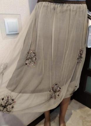 Крутая юбка трапеция миди фатин вышивка бисер тонкая