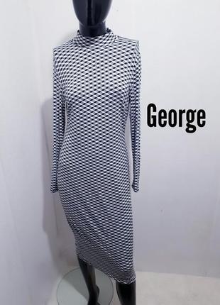 Платье миди длины из вискозы