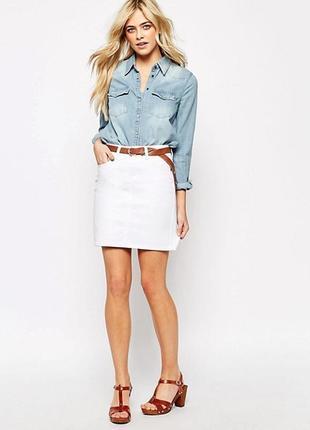 Прямая белая джинсовая юбка 100% cotton