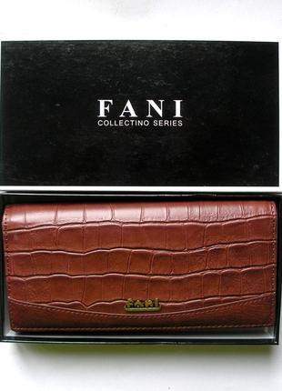 Большой кожаный кошелек крокодил fani, 100% натуральная кожа, есть доставка бесплат