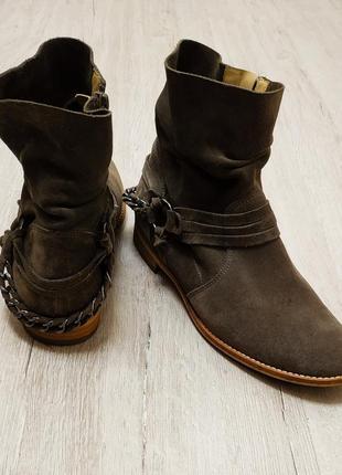 Фирменные ботинки полуботинки сапоги натуральный замш кожа paul green