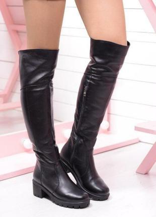Женские зимние ботфорты на каблуке, натуральная кожа и мех