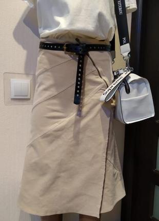 Брэндовая юбка-карандаш миди трапеция светлый вельвет