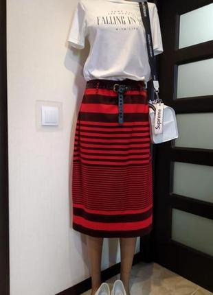 Трикотажная юбка карандаш f&f миди завышенной линией талии