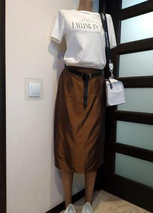 Стильная юбка трапеция новая хамелеон коричневая от marks&spencer