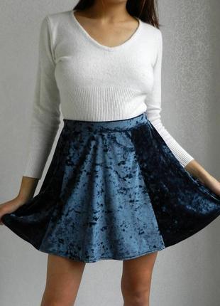 Оригинальная велюровая юбка солнце