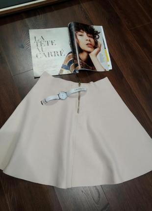 Шикарная мини юбка трапеция с молнией сзади плотная
