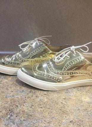 Туфли оксфорды золотые❤️❤️410
