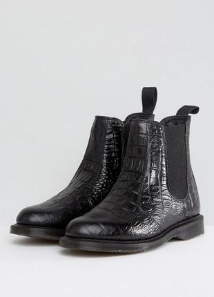 Dr. martens ботинки челси kensington flora black croco chelsea boots, оригинал, размер 39