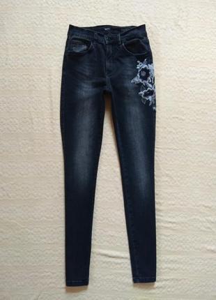 Стильные джинсы скинни с вышивкой angels, 10 размер.