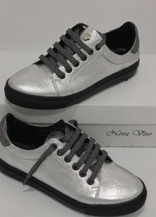 Супер кеды , кожа серебро , с 34-41р3 фото