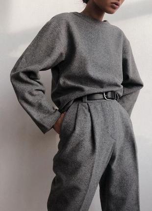 Потрясающие итальянские шерстяные брюки на высокой талии с защипами/брюки шерсть