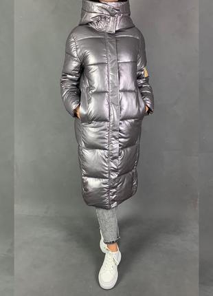 Пуховик одеяло пальто макси эко кожа металлик