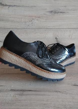 Туфли закрытые слипоны тамарис tamaris 38 р  оксфорды