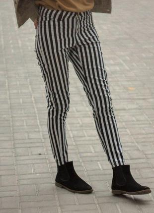 """Полосатые черно-белые джинсы-скинни на средней посадке """"vero moda"""", размер m"""