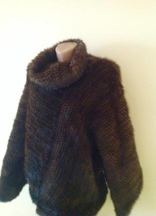 Роскошная стильная шубка жилетка свитер вязаная норка