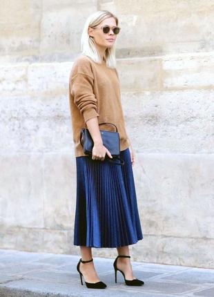 Очаровательная темно-синяя юбка плиссе tu л-хл