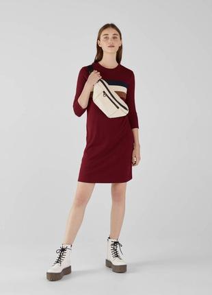 Платье трикотажное свитшот удлиненный в рубчик винный новый качественное