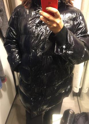 Куртка стеганая,лаковая,зимняя,оверсайз,для беременных,пуховик zara