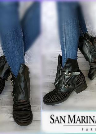 38-39р замша,кожа! новые san marina франция,ботинки,полусапожки в стиле airstep,mjus