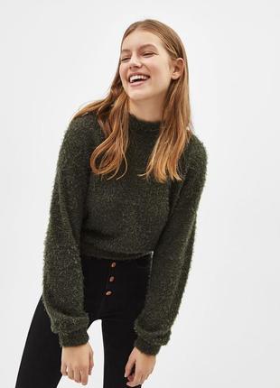 """Джемпер свитер кофта свитшот пушистый """"травка"""" с объёмными рукавами хаки новый"""