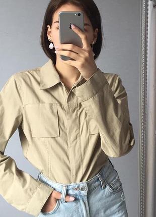 Бежевая нейлоновая куртка-рубашка mexx