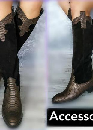 38-39р замша,кожа! новые accessoire высокие сапоги,ковбойки