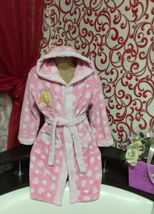 Нежный ,теплый, мягкий халат-пушистик *принцесса* из велсофта (махра-травка) на  6-7лет