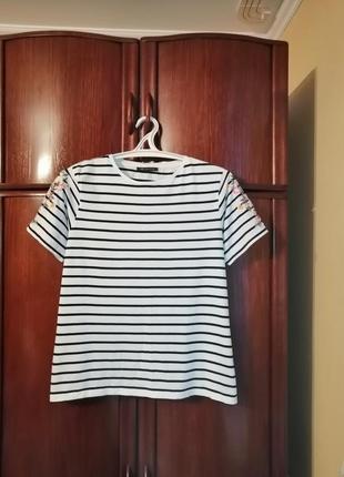 Модная футболка marks&spencer, 100% хлопок вышивка, размер 12/40