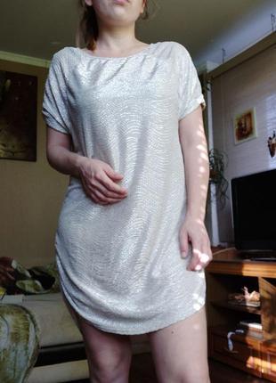 Платье - туника серебро