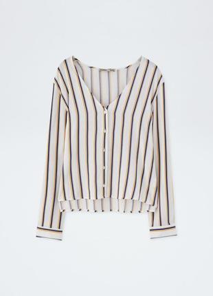Рубашка блуза v-вырез полосатая свободного кроя оверсайз качественная новая