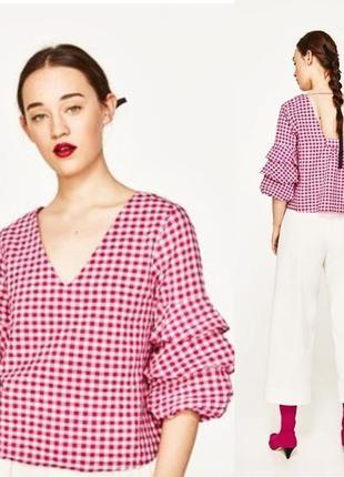 Топ блуза в клетку фуксия объёмный рукав zara