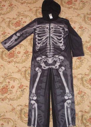 Пижама кигуруми слип человечек скелет на 5-6 лет рост 110-116 см
