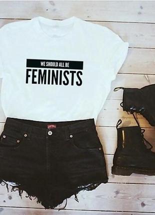 Футболка топ белая принт feminist новая
