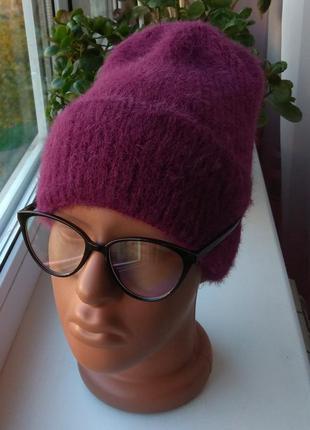 Новая модная ангоровая шапка (на флисе), фиолетовая