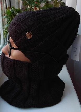 Новый модный комплект: шапка (на флисе) и снуд, черный