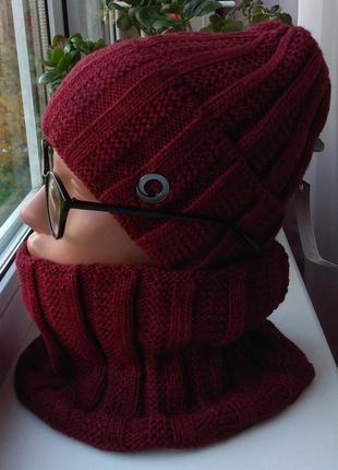 Новый модный комплект: шапка (на флисе) и снуд, бордовый