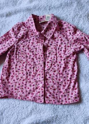 Рубашка в цветочный принт на девочку 1-2 года