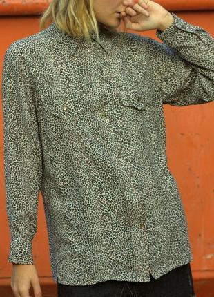 """Леопардовая тонкая рубашка с карманами и разрезами по бокам """"h&m"""", размер s"""